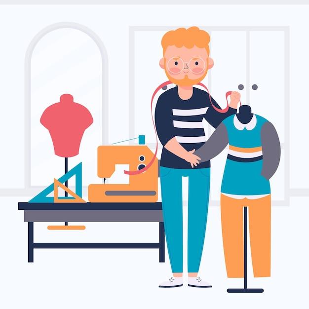 Illustrazione di stilista con uomo e macchina da cucire Vettore Premium