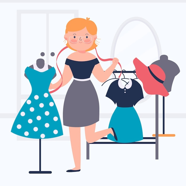 Illustrazione di stilista di moda con donna e vestiti Vettore Premium
