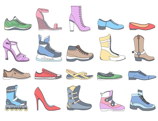 Calzature di moda nell'illustrazione sportiva Vettore Premium