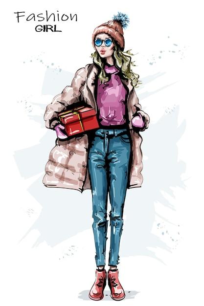 Look invernale di moda ragazza. Vettore Premium