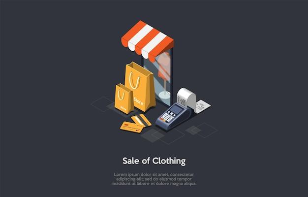 Industria della moda, vendita di vestiti concetto. il manichino in piedi nella finestra del negozio. conserva borse, carte di credito e assegno di stampa del terminale bancario. Vettore Premium