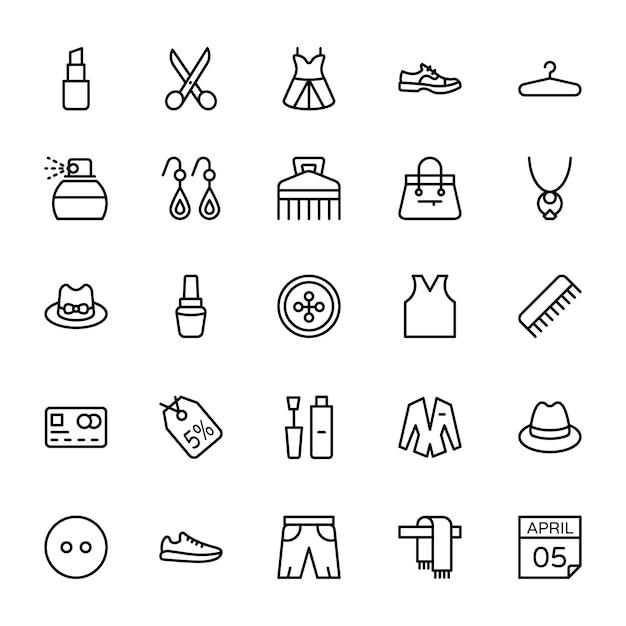 Icone di linea di moda Vettore Premium