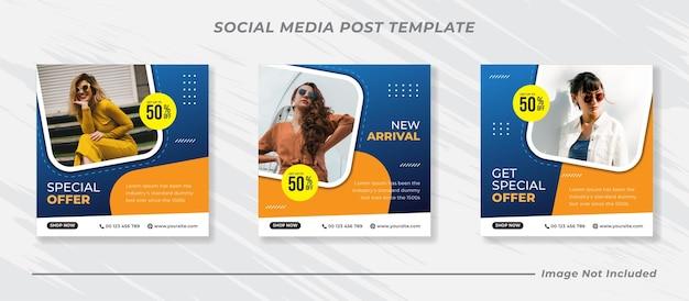 Banner di vendita di moda per modello di post sui social media Vettore Premium