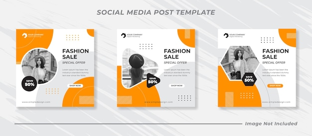 Banner di vendita di moda o volantino quadrato per set di modelli di post sui social media Vettore Premium