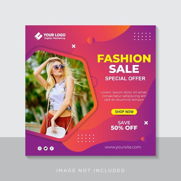 Banner di vendita di moda o volantino quadrato per modello di post sui social media Vettore Premium