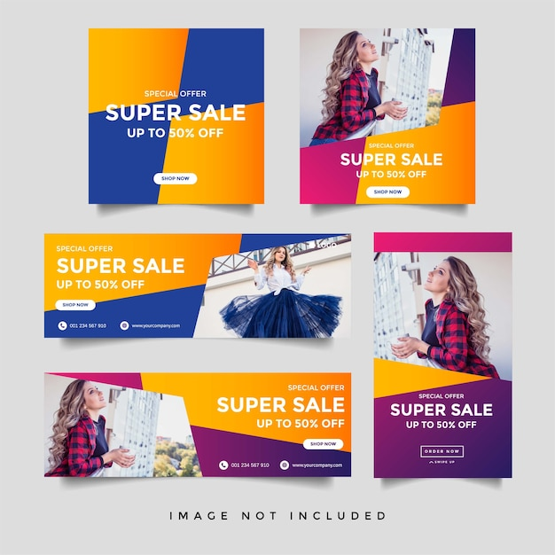 Modello di banner di storie di social media e storie di instagram di vendita di moda Vettore Premium