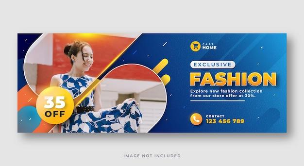 Modello di banner web copertina facebook di vendita di moda Vettore Premium