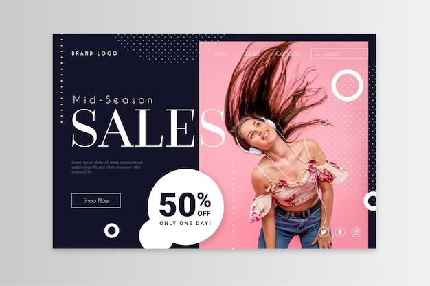 Modello di pagina di destinazione di vendita di moda Vettore Premium