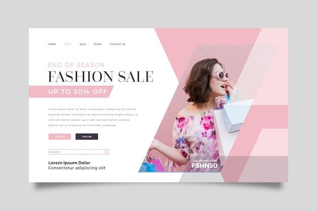 Tema del modello web della pagina di destinazione della vendita di moda Vettore Premium