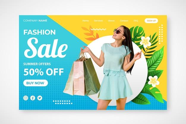 Pagina di destinazione della vendita di moda Vettore Premium