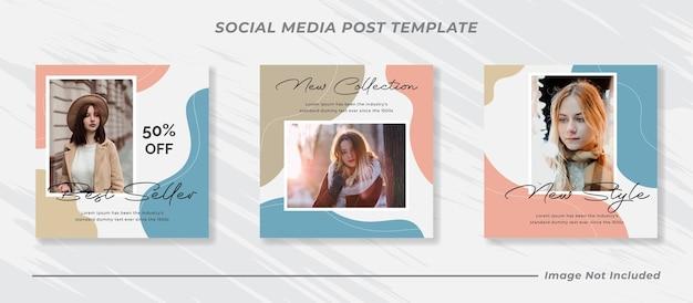 Insieme di modelli di post sui social media di vendita di moda Vettore Premium