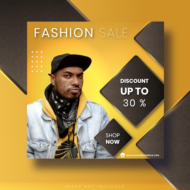 Modello di vendita di moda per post e banner di instagram sui social media Vettore Premium
