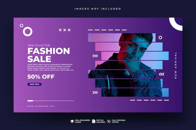 Modello di banner web di vendita di moda Vettore Premium