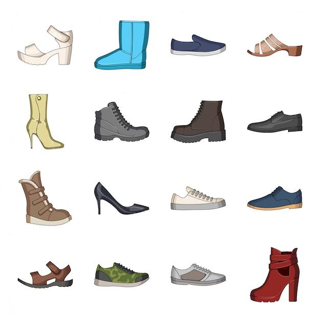Icona stabilita del fumetto della scarpa di moda. icona stabilita del fumetto isolata negozio di calzature. scarpa moda. Vettore Premium