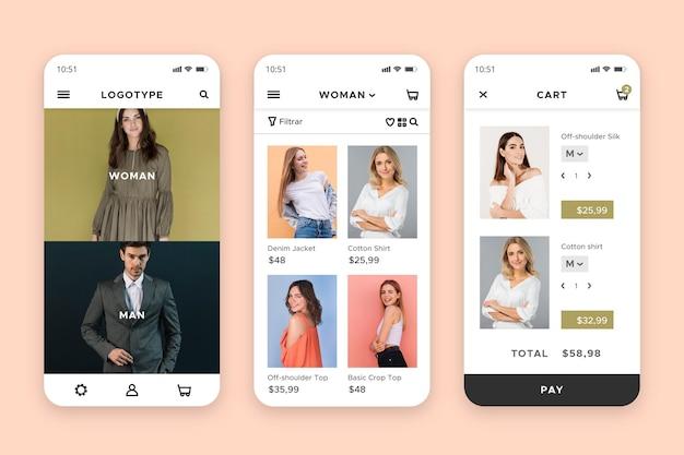 Interfaccia dell'app per lo shopping di moda Vettore Premium