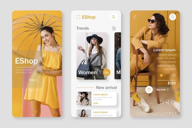 Modello di app per lo shopping di moda Vettore Premium