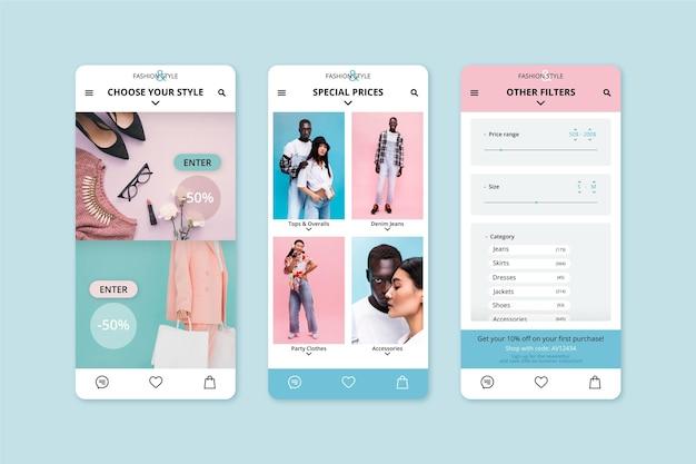 Modello di applicazione per lo shopping di moda Vettore Premium