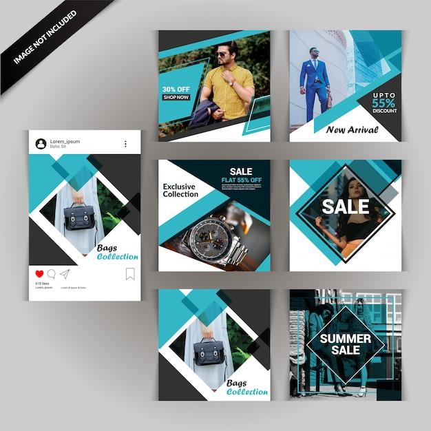 Fashion social media post o banner Vettore Premium
