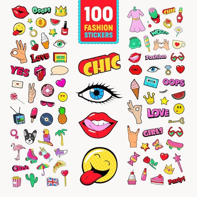 Adesivi e distintivi di moda con labbra Vettore Premium