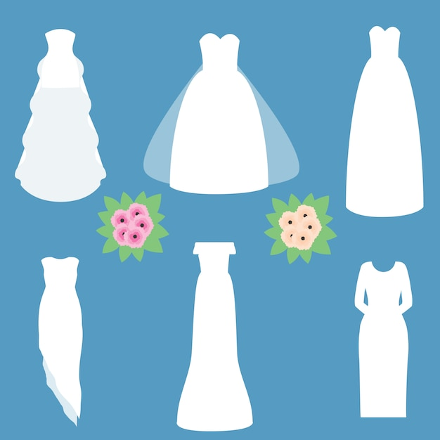 Modelli di abiti da sposa di moda. Vettore Premium