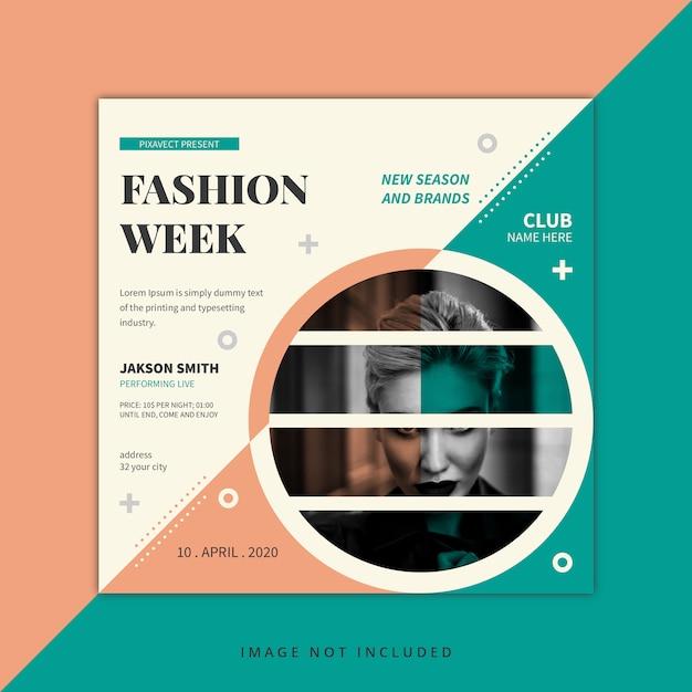 Modello di progettazione post social media settimana della moda Vettore Premium