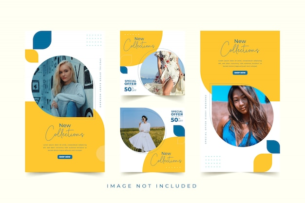 Modello di social media donna moda con sfondo colorato Vettore Premium