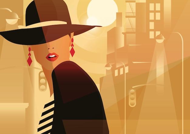 Moda donna in stile pop art in una grande città. Vettore Premium