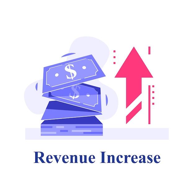 Contanti veloci, piccoli prestiti, micro prestiti, guadagni di più, strategia finanziaria, fornitura di finanziamenti, crescita dei ricavi, fondo di investimento, alto interesse, illustrazione piatta Vettore Premium