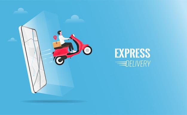 Pacchetto di consegna veloce tramite corriere con lo scooter sull'illustrazione del telefono cellulare. Vettore Premium