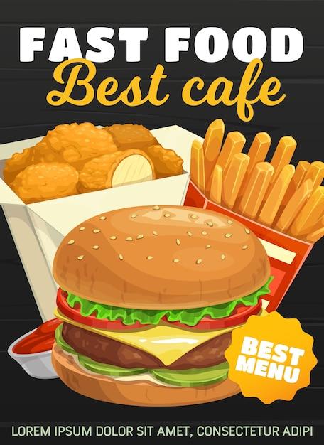 Hamburger fast food, patatine fritte e bocconcini di pollo. ordine e consegna di spuntini da bistrot fastfood da asporto. cheeseburger di cibo spazzatura, hamburger e patate fritte con salsa ketchup al menu del bar Vettore Premium