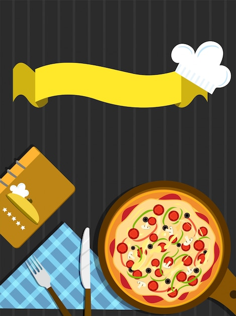 Concetto di fast food con pizza e nastro. Vettore Premium