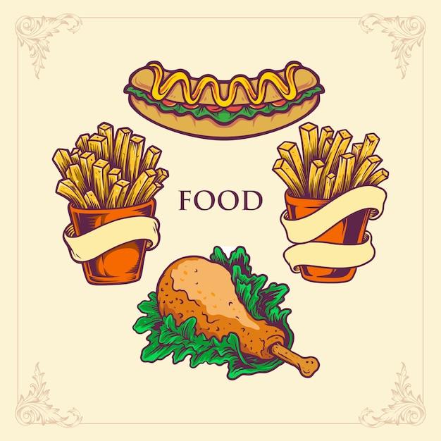 Fast food hotdog, pollo patatine fritte impostare illustrazioni Vettore Premium