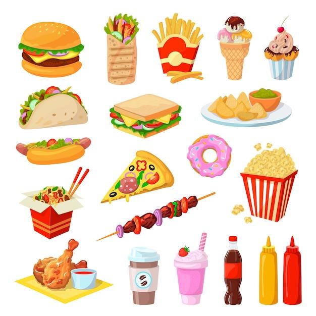 Set di illustrazione di fast food Vettore Premium