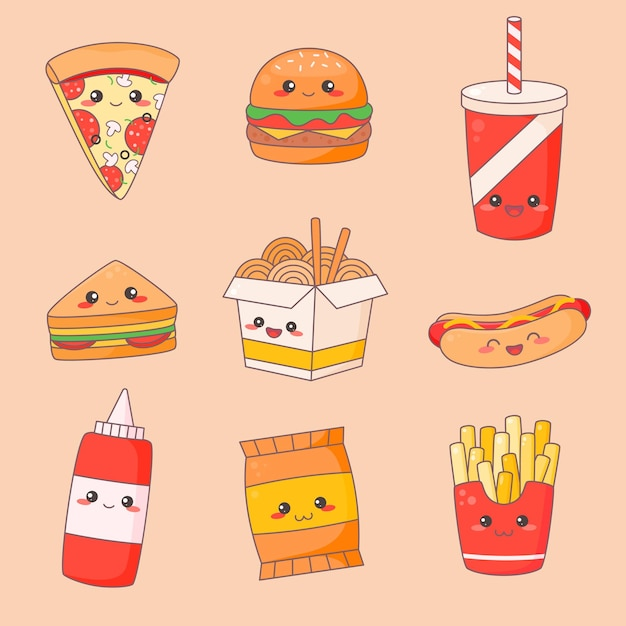 Set viso carino kawaii spazzatura fast food. Vettore Premium