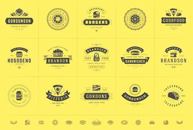 I loghi di fast food sono adatti per pizzerie o hamburger e badge di menu del ristorante con silhouette di cibo Vettore Premium