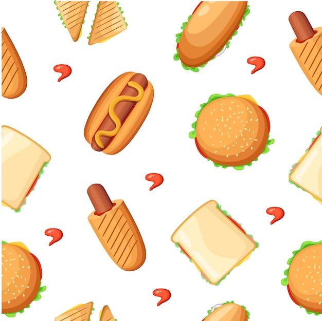 Raccolta di icone colorate del menu del ristorante fast food con ketchup di pollo pizza hot dog e illustrazione di milkshake pagina del sito web ed elemento di app mobile. Vettore Premium