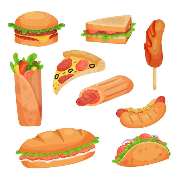 Set di fast food illustrazioni su uno sfondo bianco Vettore Premium
