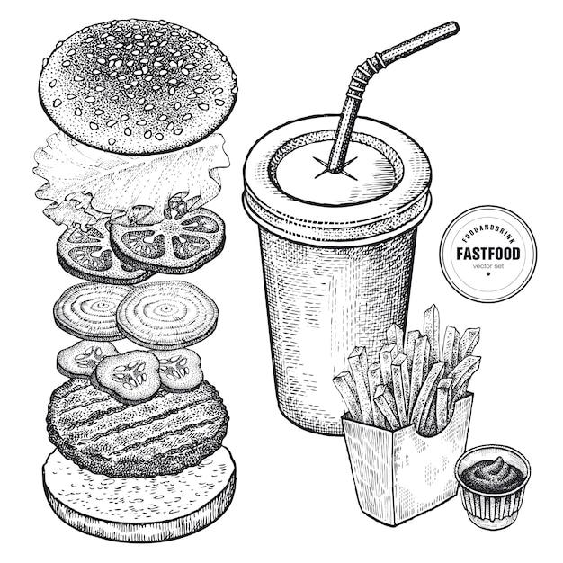 Set di fast food. grafica vintage. Vettore Premium