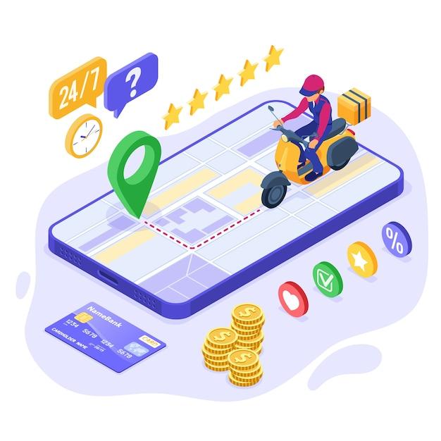 Ordine di cibo online veloce e gratuito e servizio di consegna pacchi. spedizione fast food. Vettore Premium