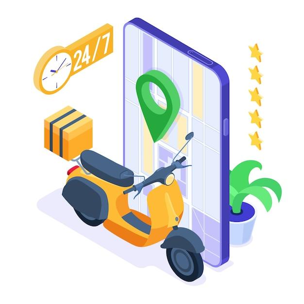 Ordine di cibo online veloce e gratuito e servizio di consegna pacchi. Vettore Premium