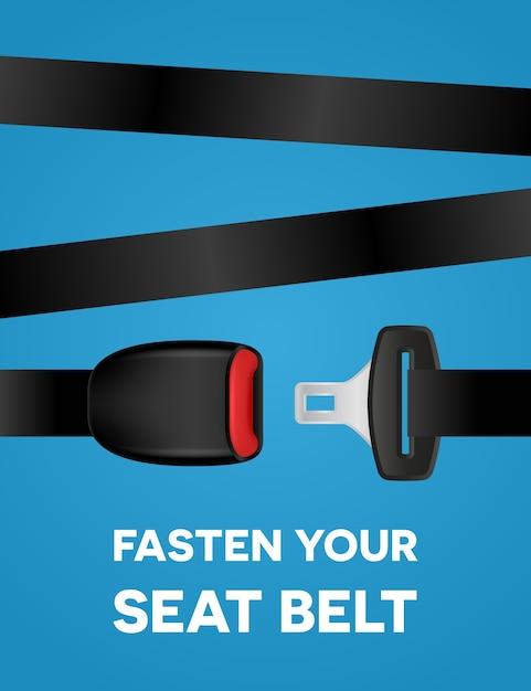 Allaccia la cintura di sicurezza - poster di tipografia sociale Vettore Premium