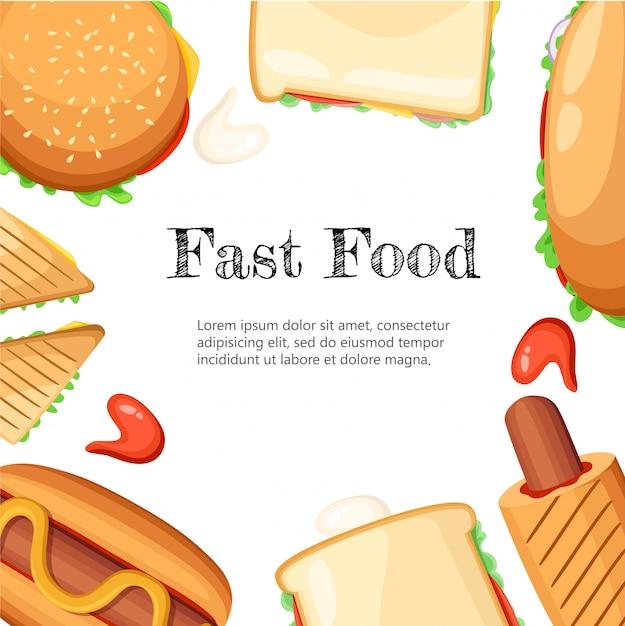 Poster di sfondo nero cornice colorata ristorante fastfood con hot dog di salsiccia di senape popcorn e illustrazione di gelato pagina del sito web ed elemento di app mobile. Vettore Premium