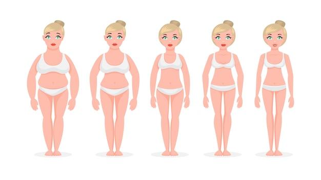 La donna grassa diventa magra. concetto di perdita di peso Vettore Premium
