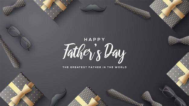 Sfondo festa del papà con scritta bianca su sfondo nero. Vettore Premium