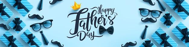 Modello di banner festa del papà con cravatta, bicchieri e confezione regalo su sfondo blu. Vettore Premium