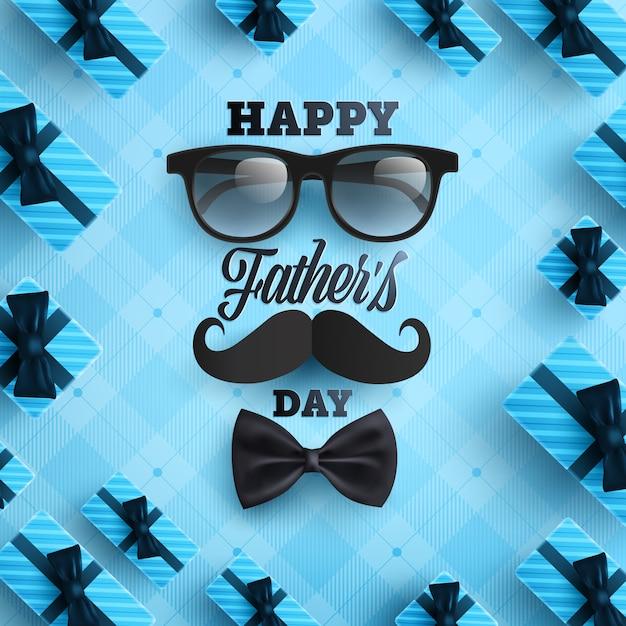 Manifesto di festa del papà o modello dell'insegna con la cravatta, i vetri e il contenitore di regalo su fondo blu. Vettore Premium
