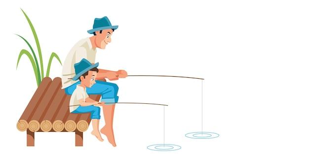 Padre e figlio che pescano insieme scena dell'illustrazione Vettore Premium