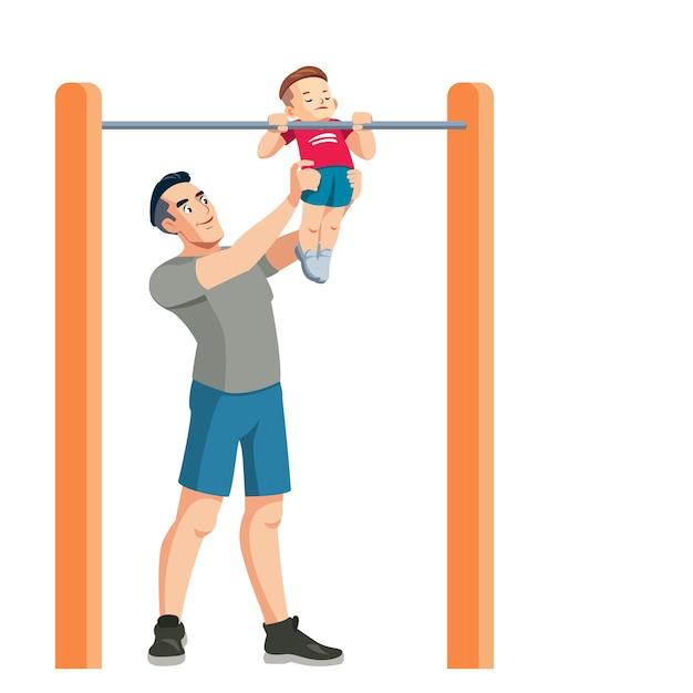 Il padre insegna a suo figlio lo sport Vettore Premium