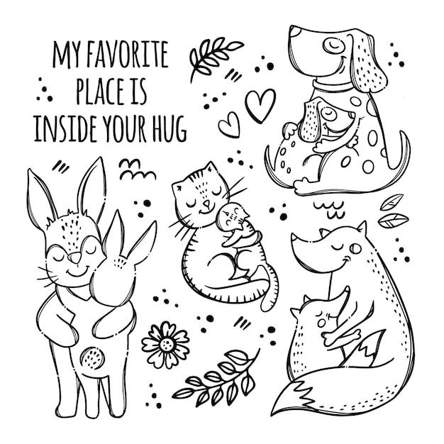 Padri mamme giorno animali carini monocromatici abbracciano i loro figli parentale relazione grafia testo disegnato a mano Vettore Premium