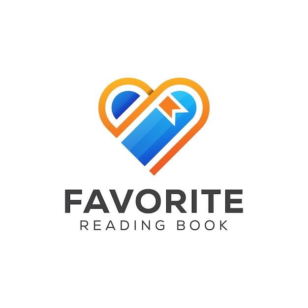 Logo del libro di lettura preferito. ama il libro, studia, impara, il logo della biblioteca Vettore Premium